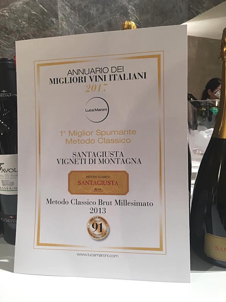 Il 'Santagiusta' 2013 miglior Spumante Metodo Classico d'Italia