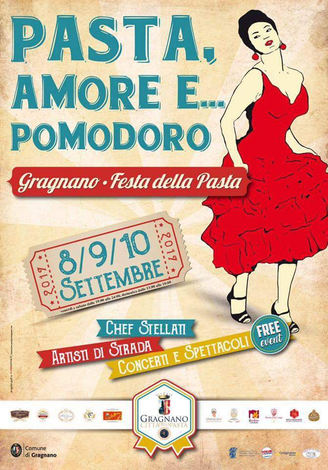 'Festa della Pasta di Gragnano IGP'. 8-9-10 settembre 2017: tre giorni di spettacoli in strada, showcooking e promozione del territorio