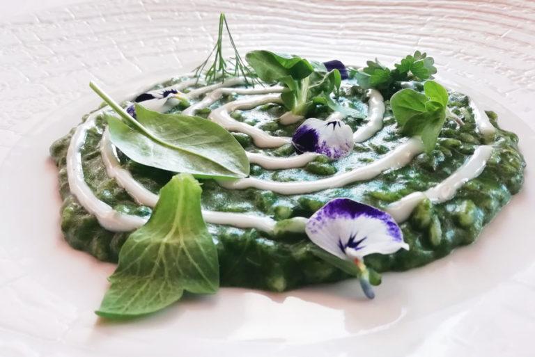 Risotto alle erbe e fonduta di Montasio Chef Stefano Basello del Fogolar