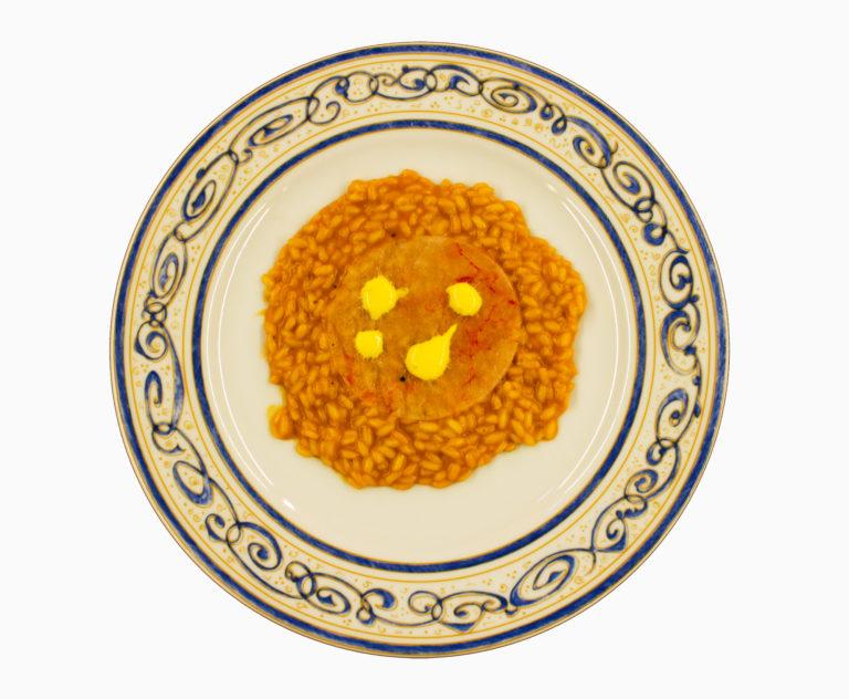 Risotto, Burrata, Carpaccio di gamberi e Zafferano